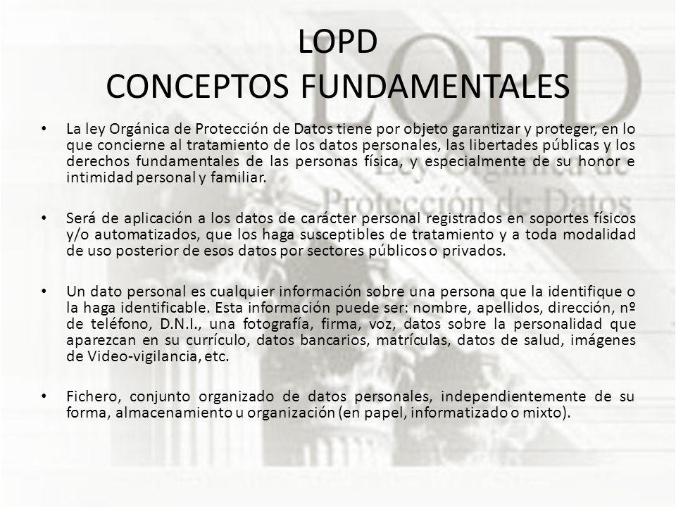 LOPD CONCEPTOS FUNDAMENTALES