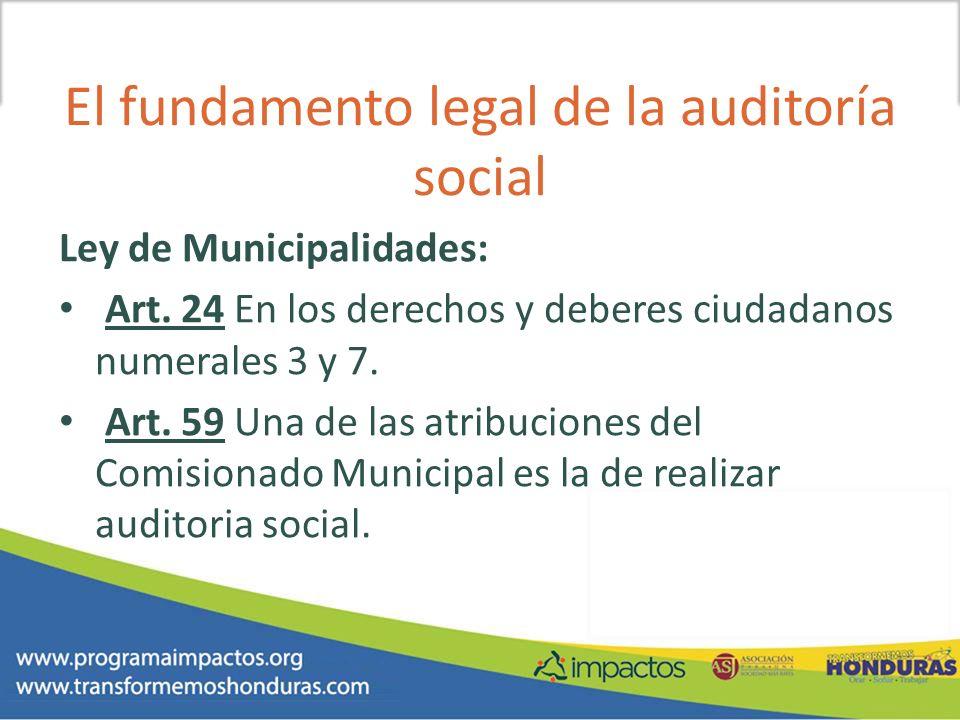 El fundamento legal de la auditoría social
