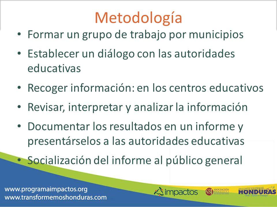 Metodología Formar un grupo de trabajo por municipios