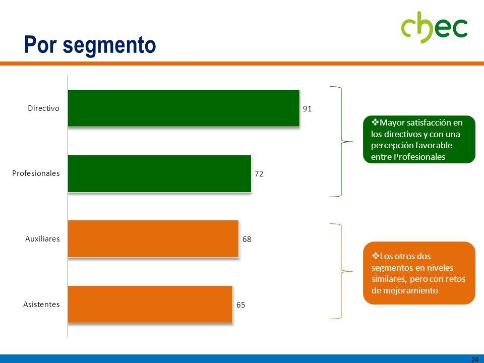 Por segmento Mayor satisfacción en los directivos y con una percepción favorable entre Profesionales.