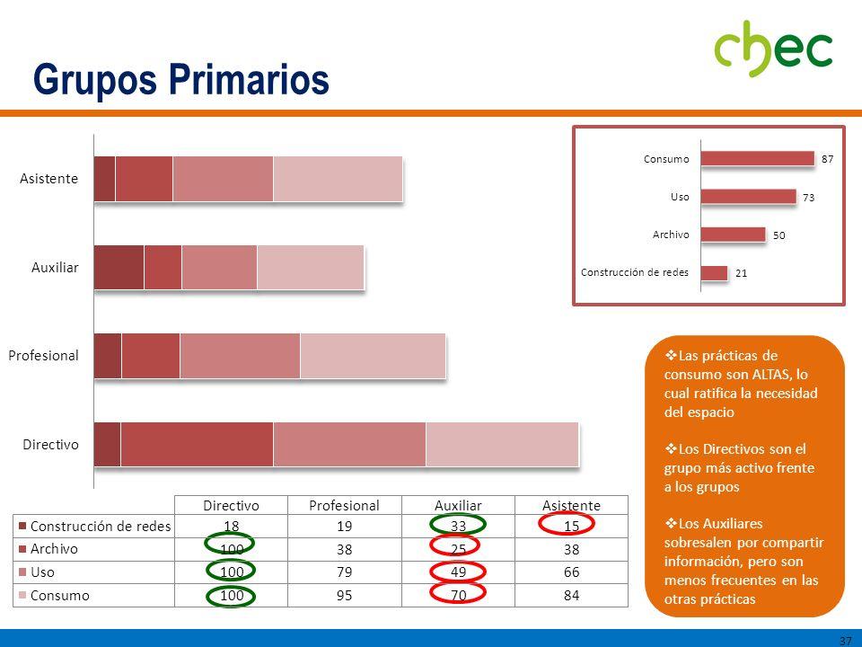 Grupos Primarios Las prácticas de consumo son ALTAS, lo cual ratifica la necesidad del espacio.