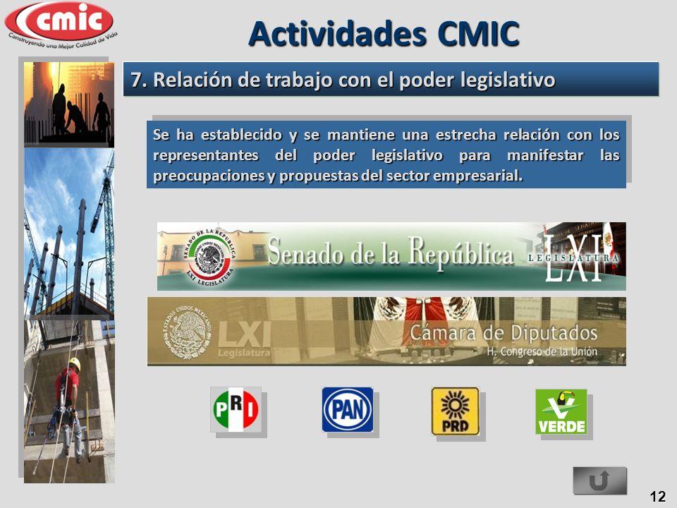 Actividades CMIC 7. Relación de trabajo con el poder legislativo
