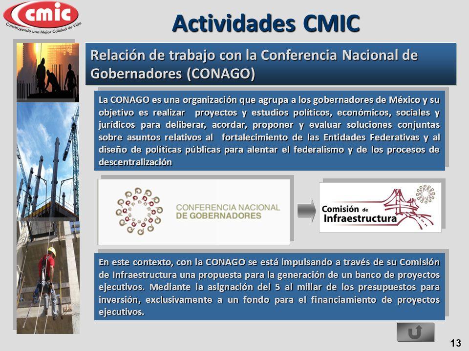 Actividades CMIC Relación de trabajo con la Conferencia Nacional de Gobernadores (CONAGO)
