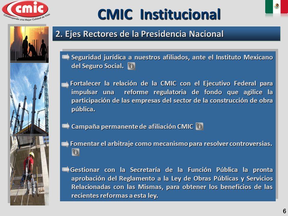 CMIC Institucional 2. Ejes Rectores de la Presidencia Nacional