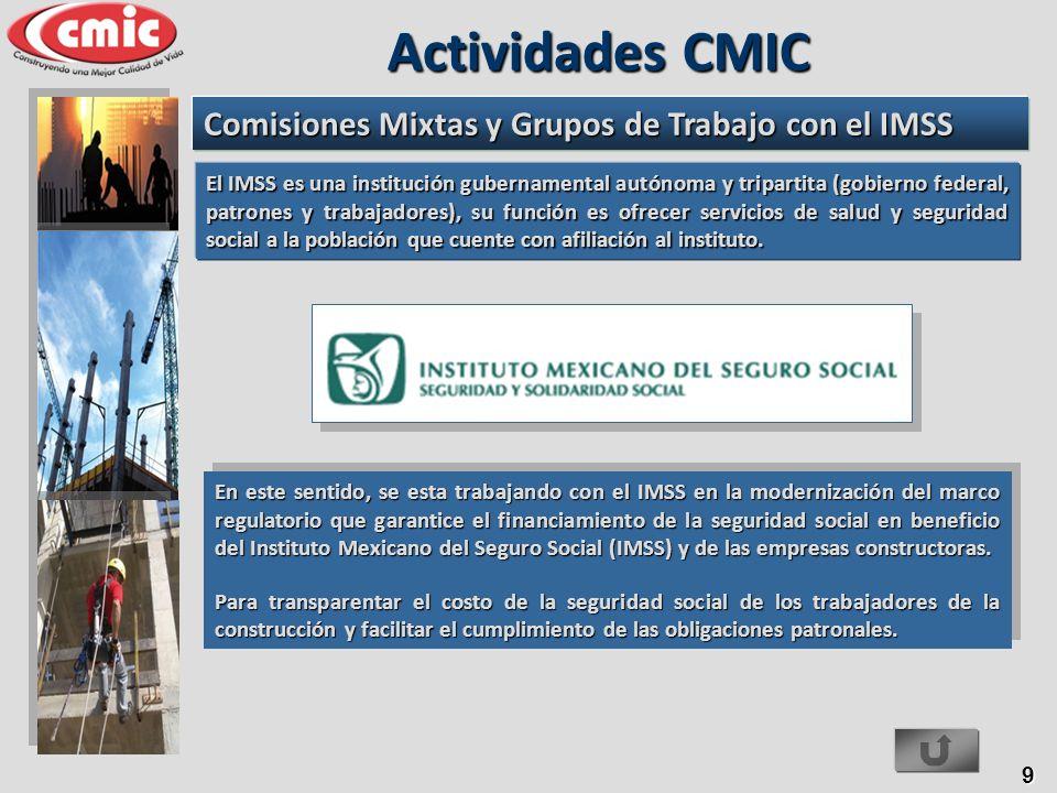 Actividades CMIC Comisiones Mixtas y Grupos de Trabajo con el IMSS