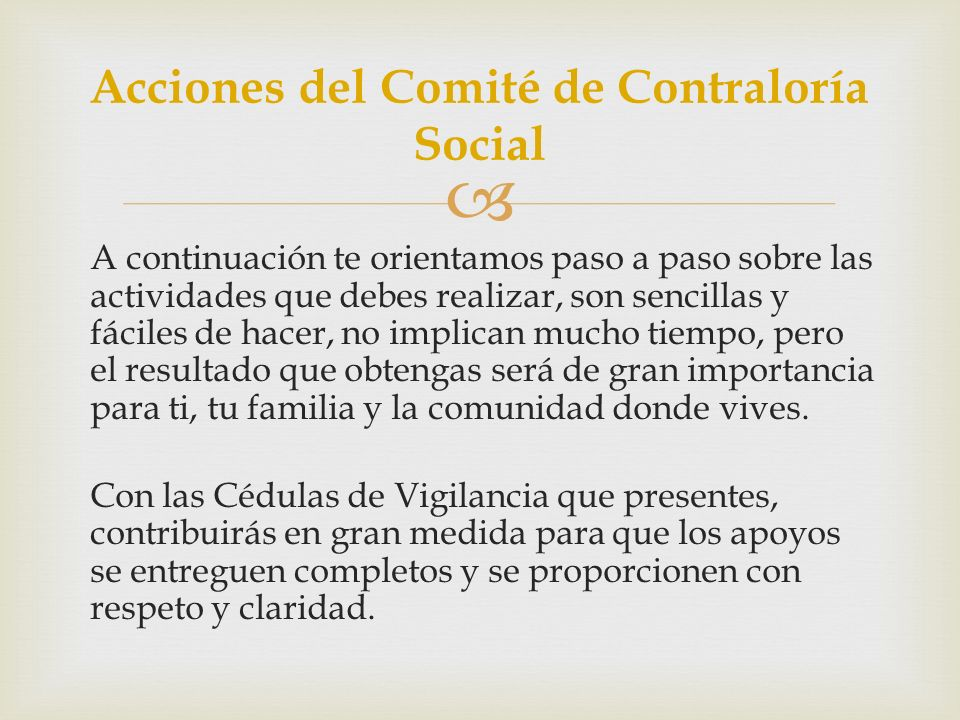 Acciones del Comité de Contraloría Social