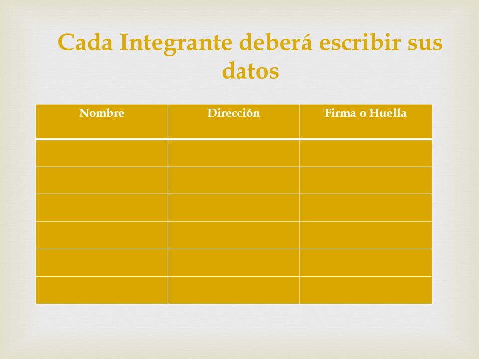 Cada Integrante deberá escribir sus datos