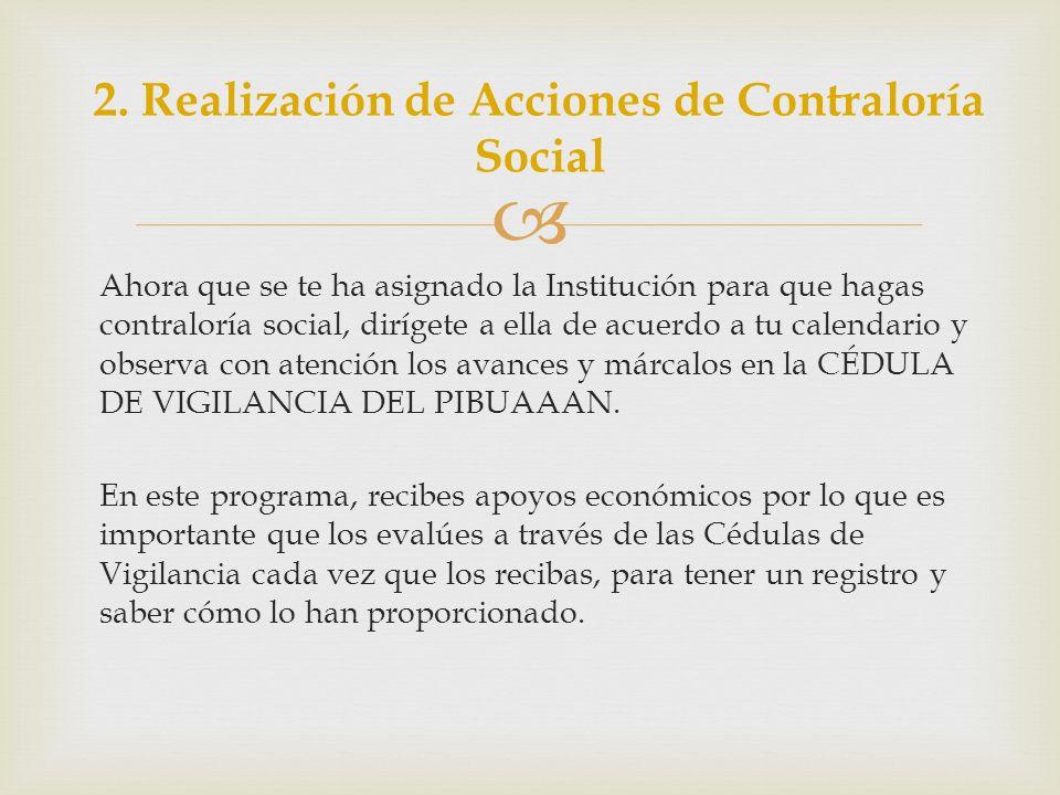 2. Realización de Acciones de Contraloría Social