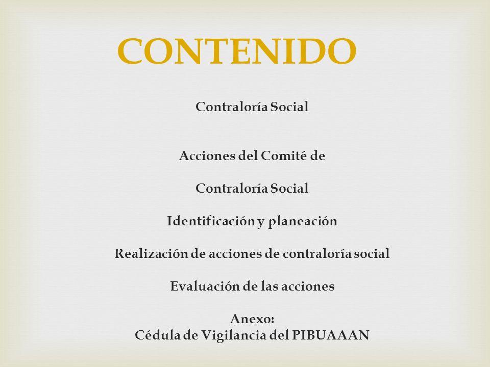 CONTENIDO Contraloría Social Acciones del Comité de
