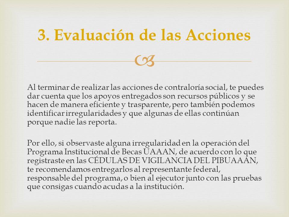 3. Evaluación de las Acciones