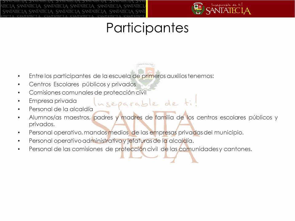 Participantes Entre los participantes de la escuela de primeros auxilios tenemos: Centros Escolares públicos y privados.