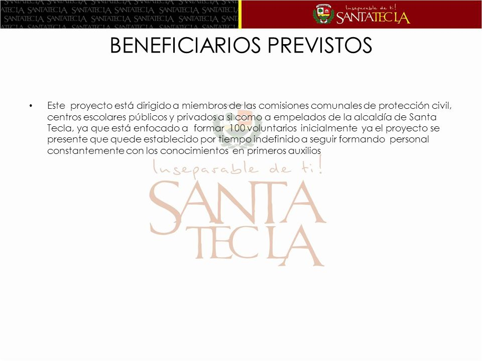 BENEFICIARIOS PREVISTOS