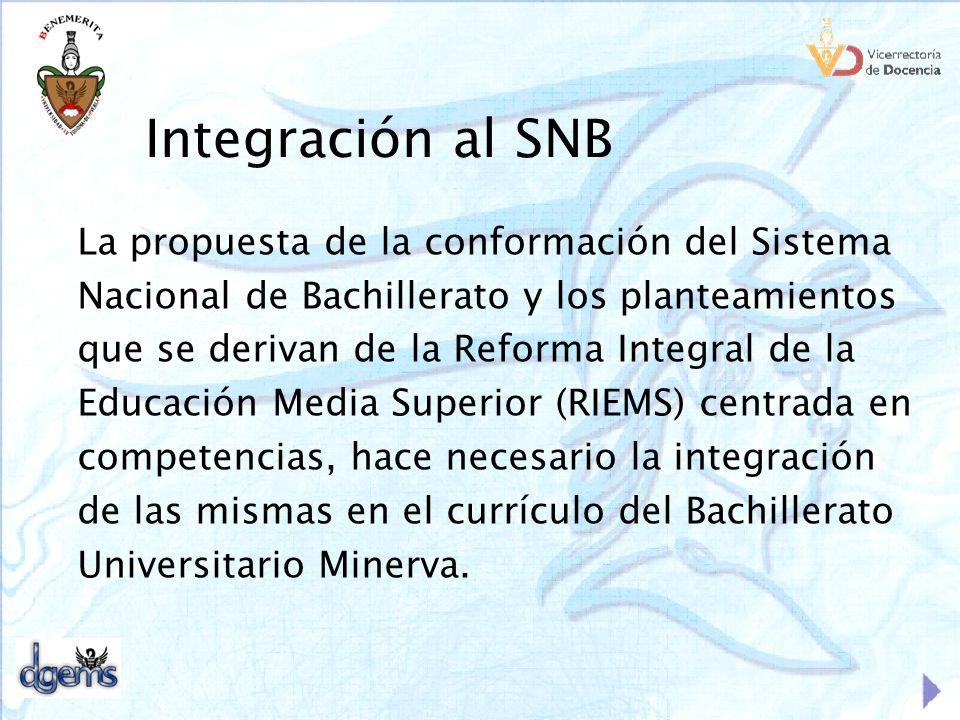 Integración al SNB La propuesta de la conformación del Sistema
