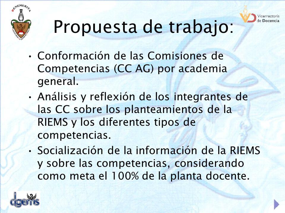 Propuesta de trabajo: Conformación de las Comisiones de Competencias (CC AG) por academia general.