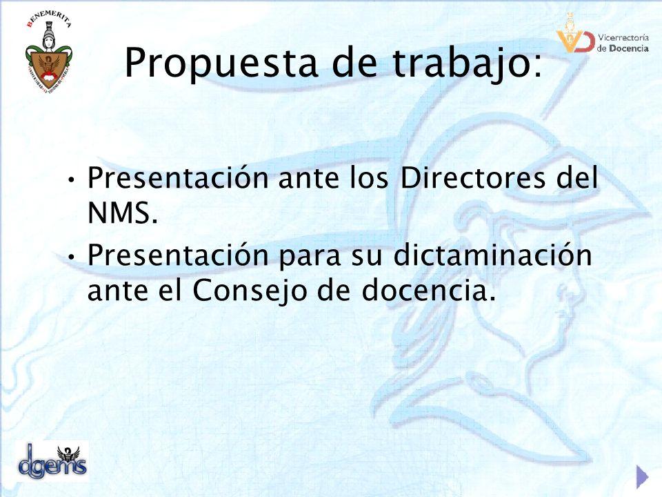Propuesta de trabajo: Presentación ante los Directores del NMS.