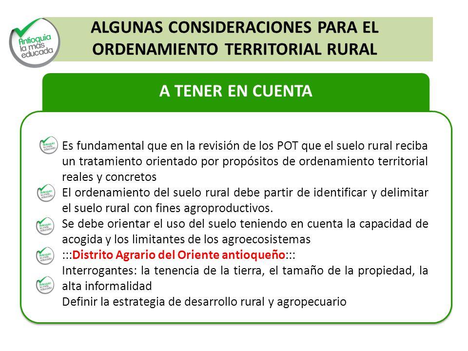ALGUNAS CONSIDERACIONES PARA EL ORDENAMIENTO TERRITORIAL RURAL
