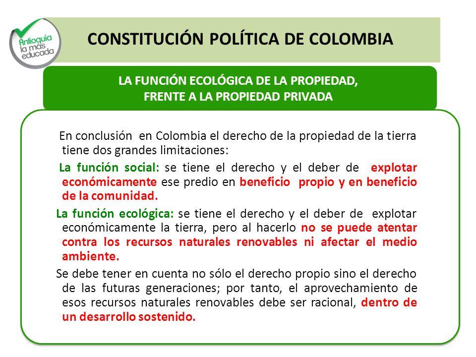LA FUNCIÓN ECOLÓGICA DE LA PROPIEDAD, FRENTE A LA PROPIEDAD PRIVADA