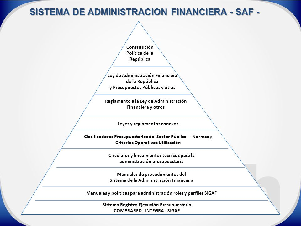 SISTEMA DE ADMINISTRACION FINANCIERA - SAF -