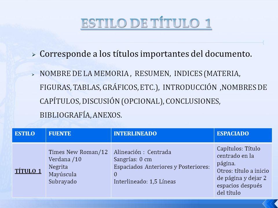ESTILO DE TÍTULO 1 Corresponde a los títulos importantes del documento.