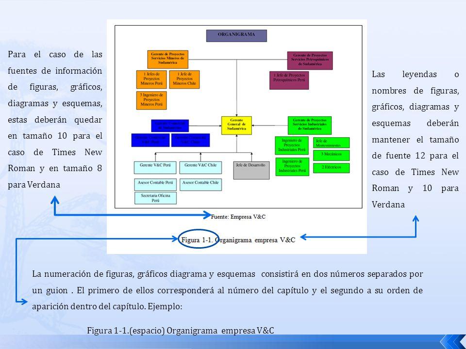 Para el caso de las fuentes de información de figuras, gráficos, diagramas y esquemas, estas deberán quedar en tamaño 10 para el caso de Times New Roman y en tamaño 8 para Verdana