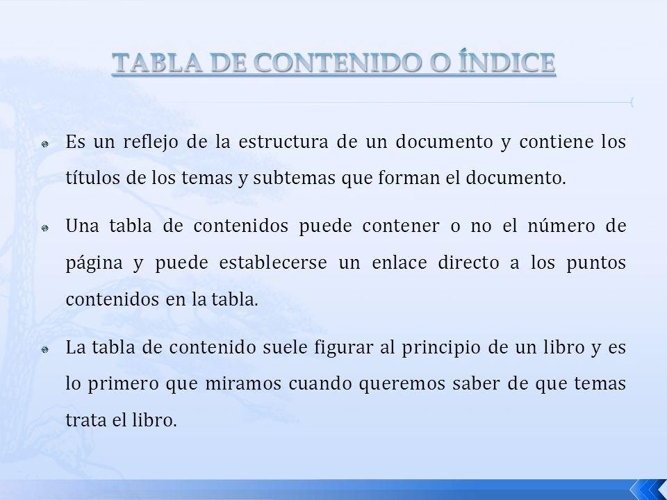 TABLA DE CONTENIDO O ÍNDICE