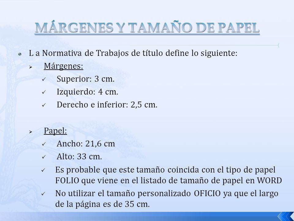 MÁRGENES Y TAMAÑO DE PAPEL