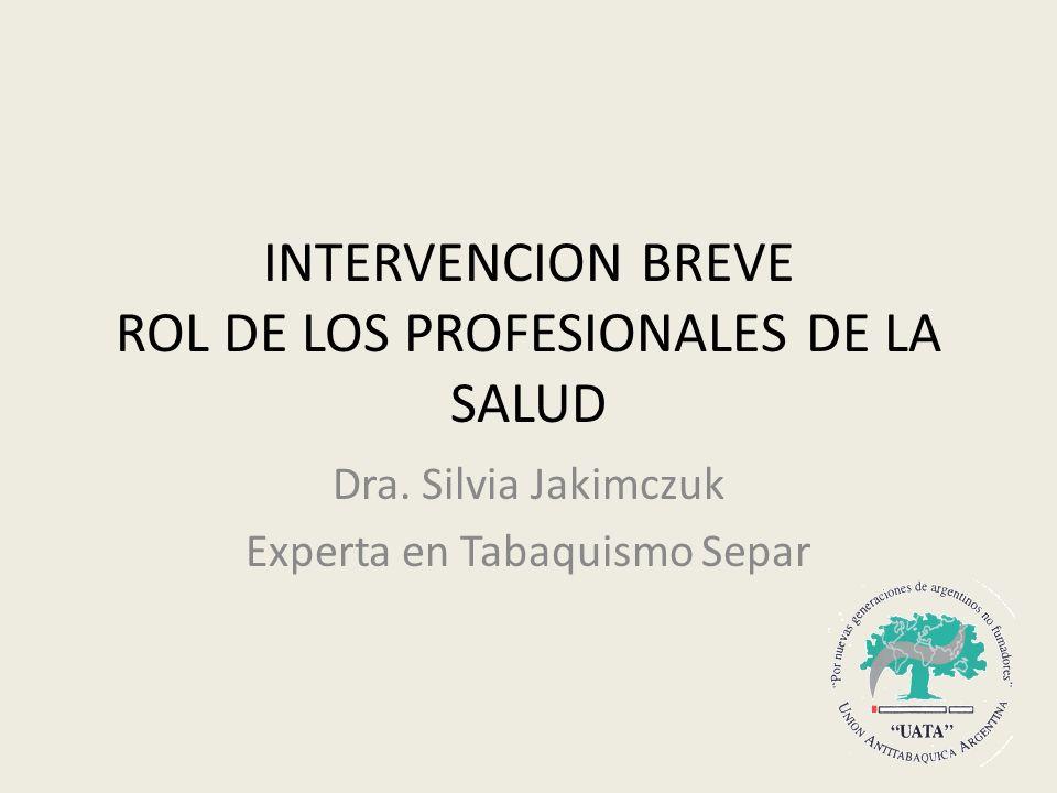 INTERVENCION BREVE ROL DE LOS PROFESIONALES DE LA SALUD