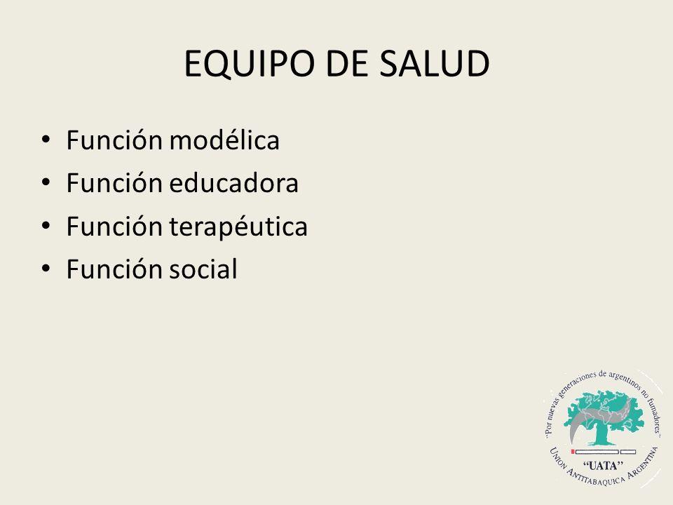 EQUIPO DE SALUD Función modélica Función educadora Función terapéutica