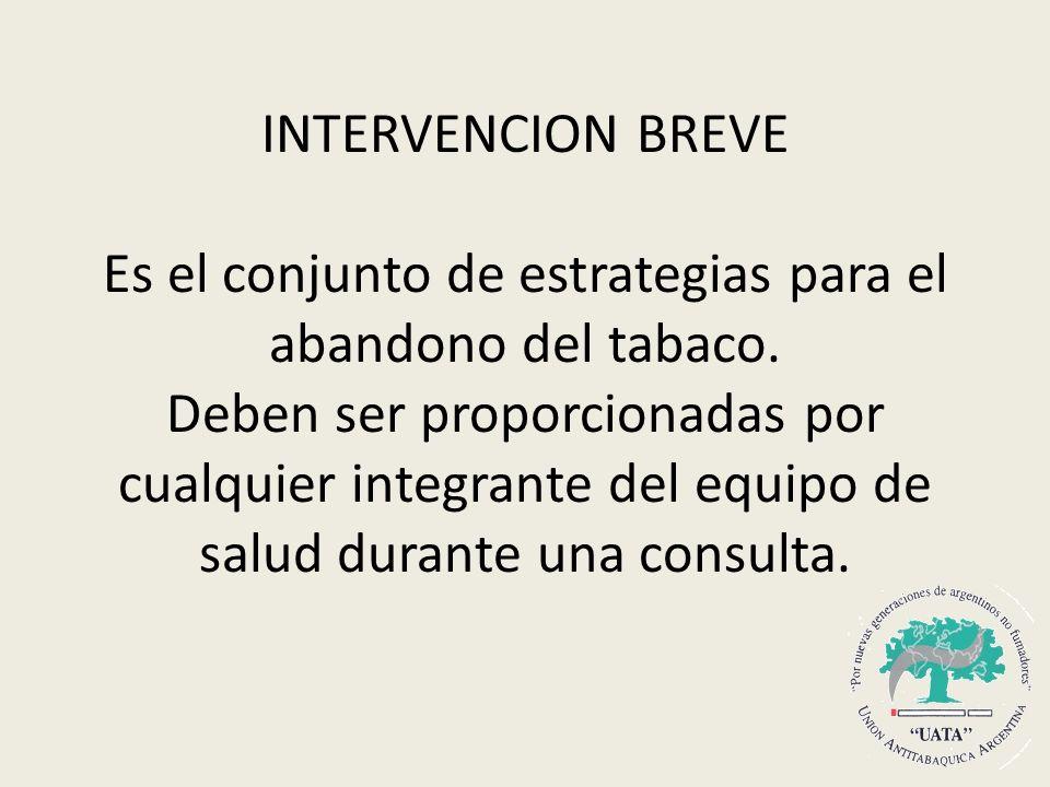 INTERVENCION BREVE Es el conjunto de estrategias para el abandono del tabaco.