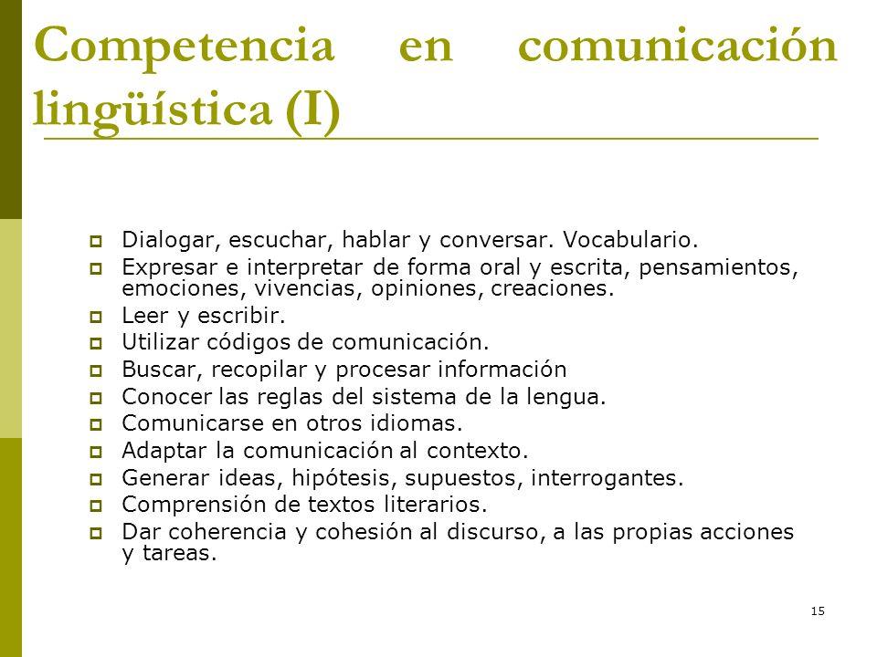 Competencia en comunicación lingüística (I)