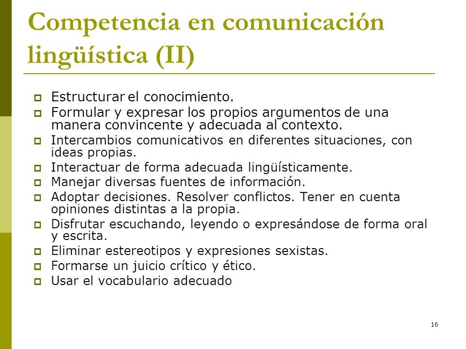Competencia en comunicación lingüística (II)