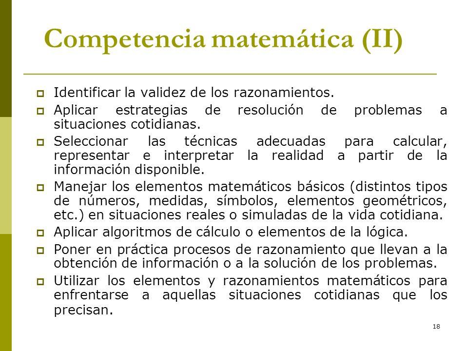 Competencia matemática (II)