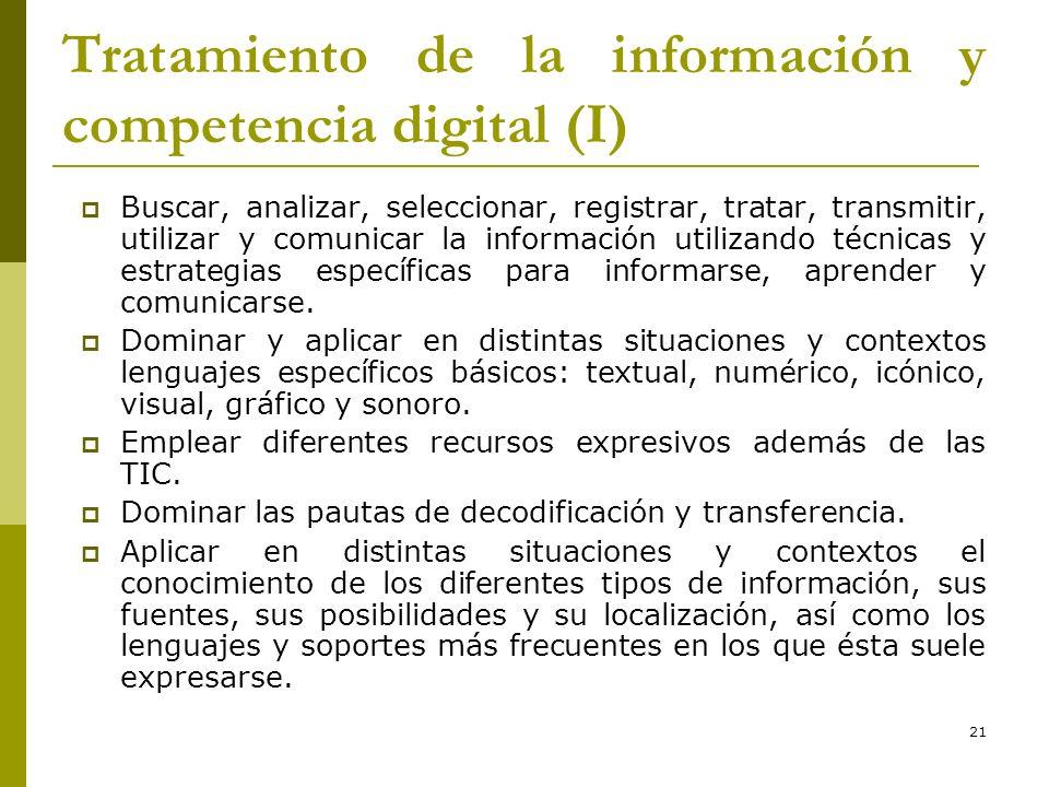 Tratamiento de la información y competencia digital (I)