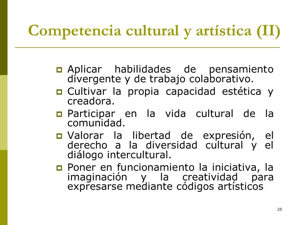 Competencia cultural y artística (II)