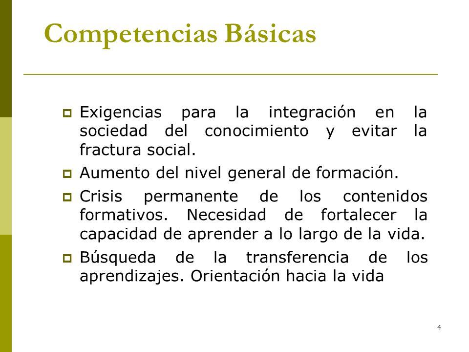 * 16/07/96. Competencias Básicas. Exigencias para la integración en la sociedad del conocimiento y evitar la fractura social.
