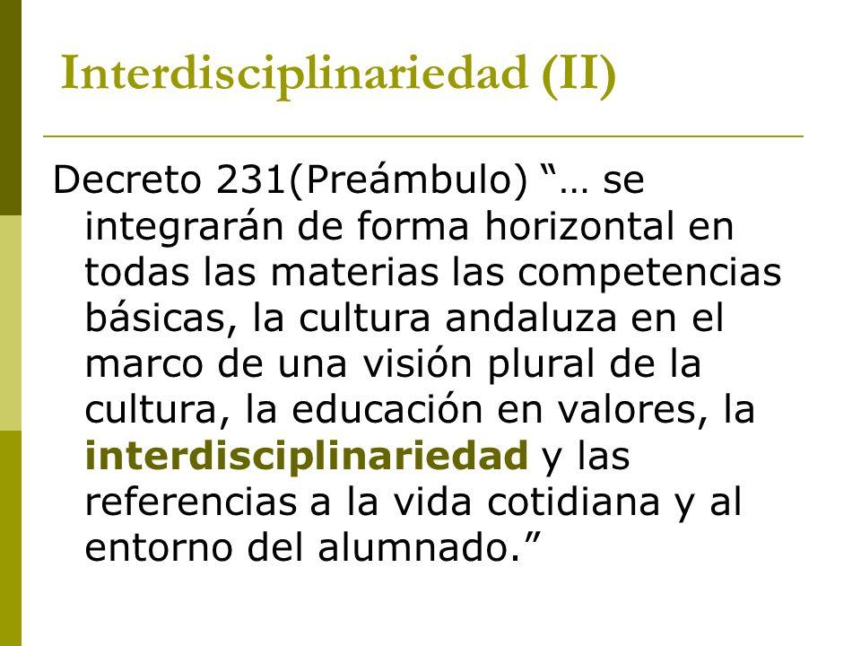 Interdisciplinariedad (II)