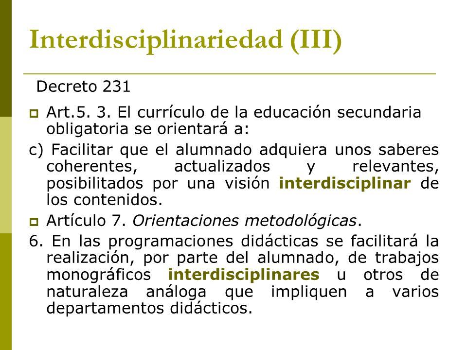 Interdisciplinariedad (III)