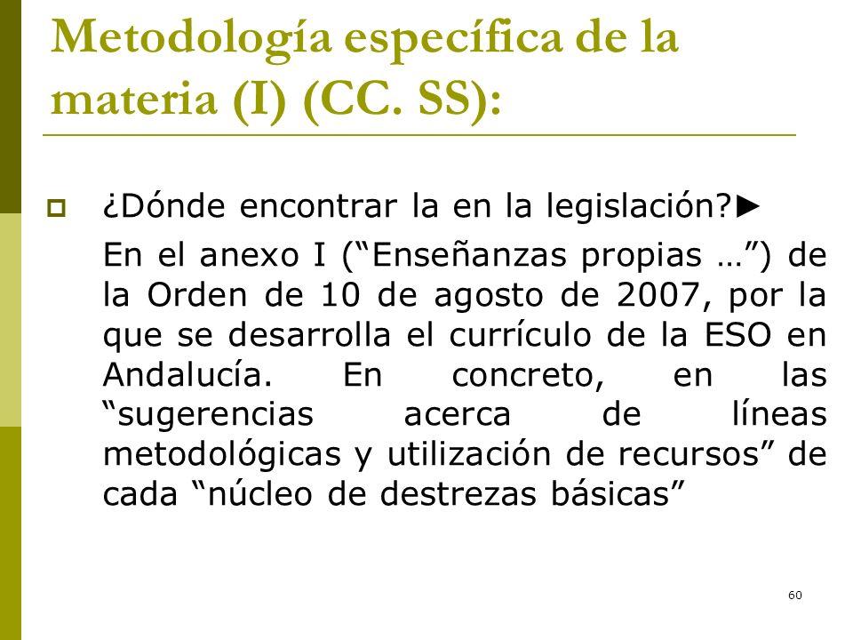 Metodología específica de la materia (I) (CC. SS):