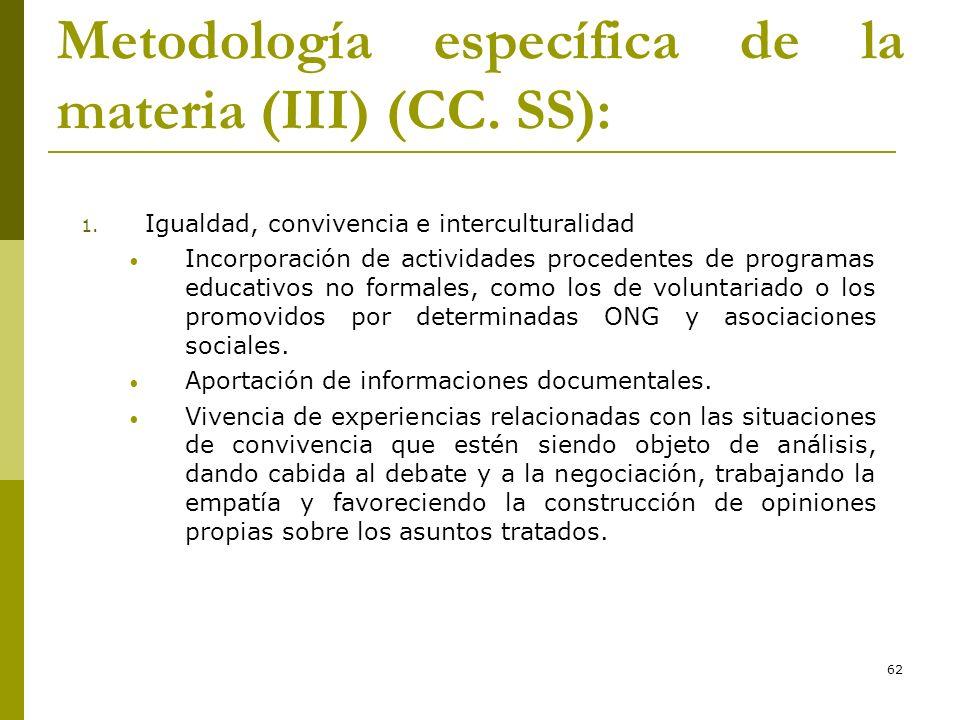 Metodología específica de la materia (III) (CC. SS):