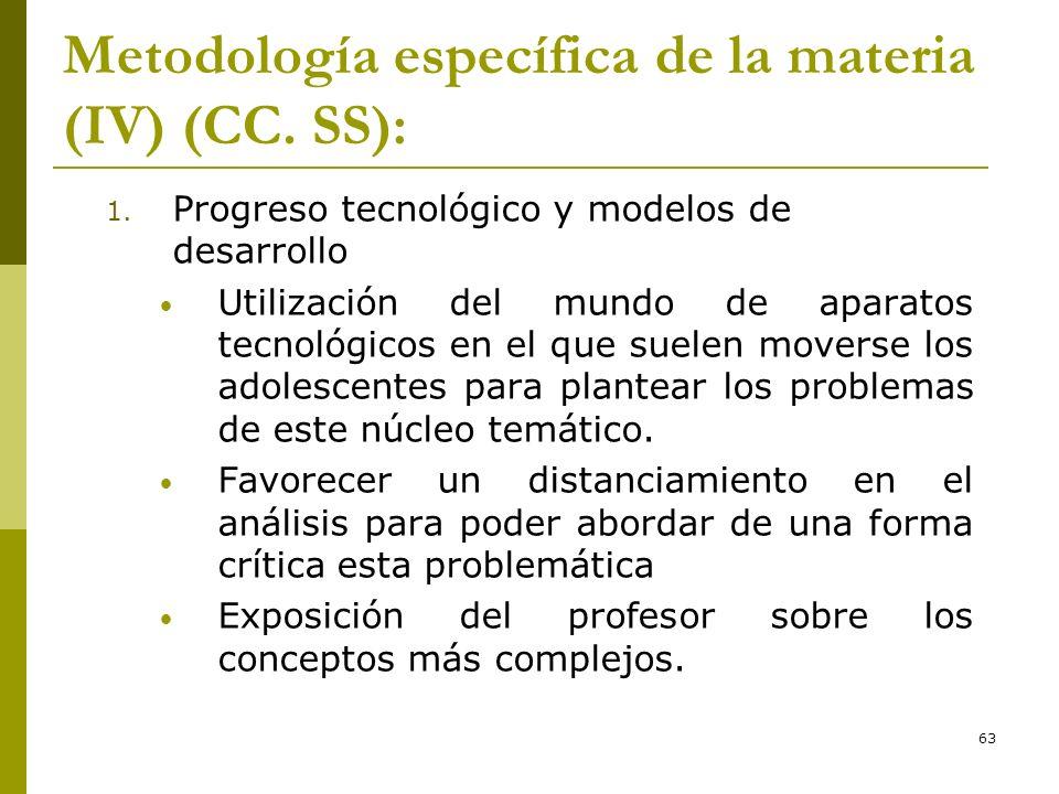 Metodología específica de la materia (IV) (CC. SS):