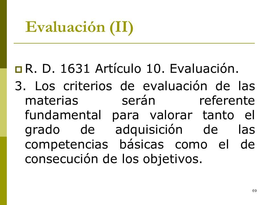 Evaluación (II) R. D. 1631 Artículo 10. Evaluación.
