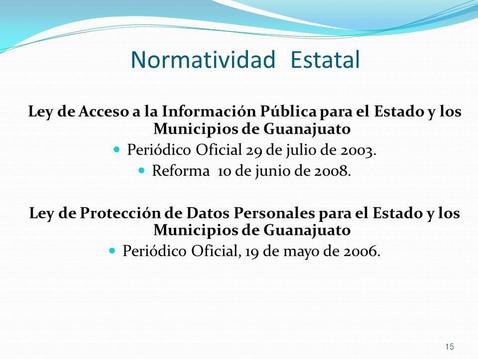 Normatividad Estatal Ley de Acceso a la Información Pública para el Estado y los Municipios de Guanajuato.