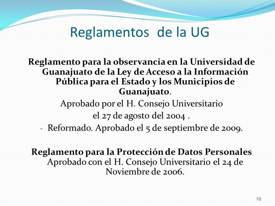 Reglamentos de la UG