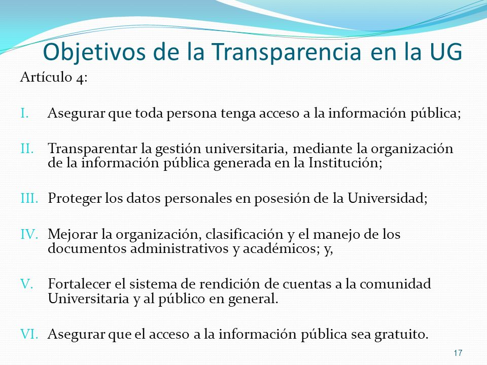 Objetivos de la Transparencia en la UG