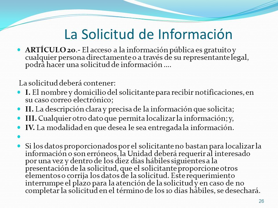 La Solicitud de Información