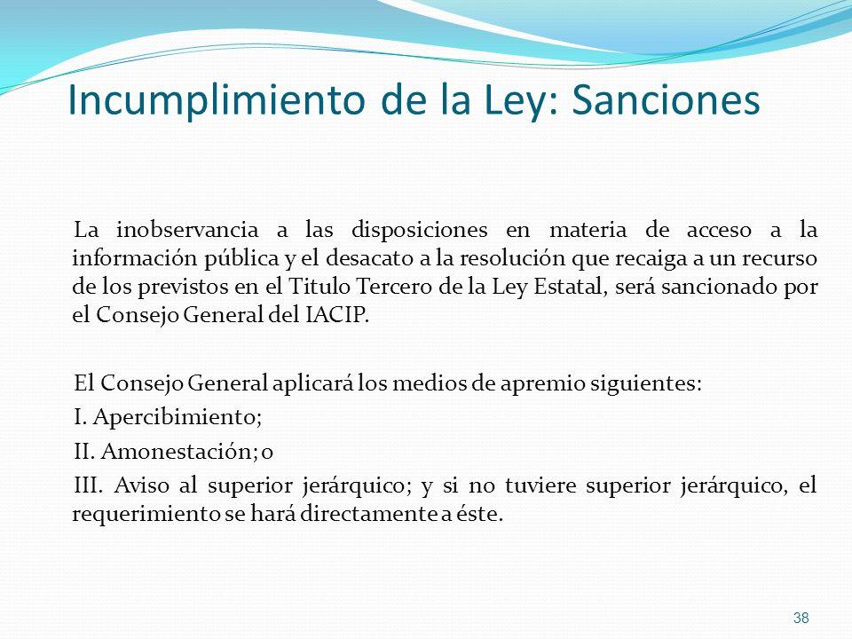 Incumplimiento de la Ley: Sanciones