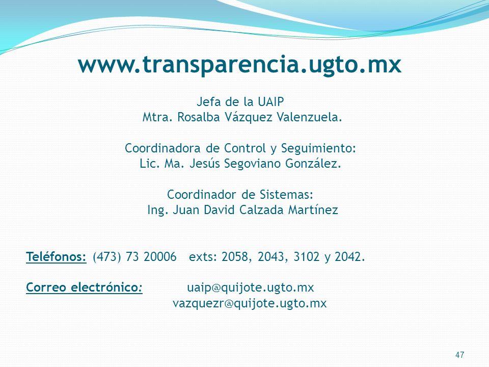 www.transparencia.ugto.mx Jefa de la UAIP