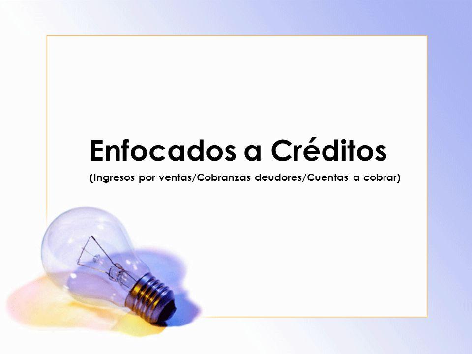(Ingresos por ventas/Cobranzas deudores/Cuentas a cobrar)