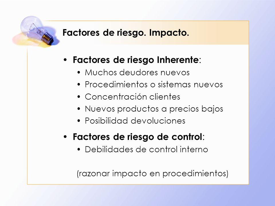Factores de riesgo. Impacto.