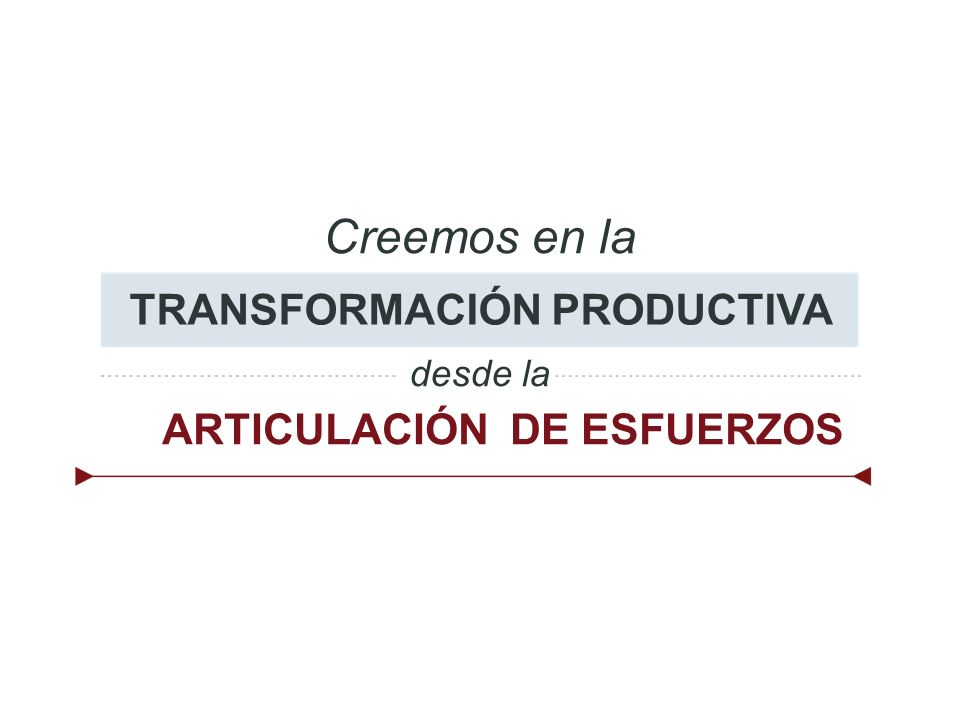 TRANSFORMACIÓN PRODUCTIVA ARTICULACIÓN DE ESFUERZOS